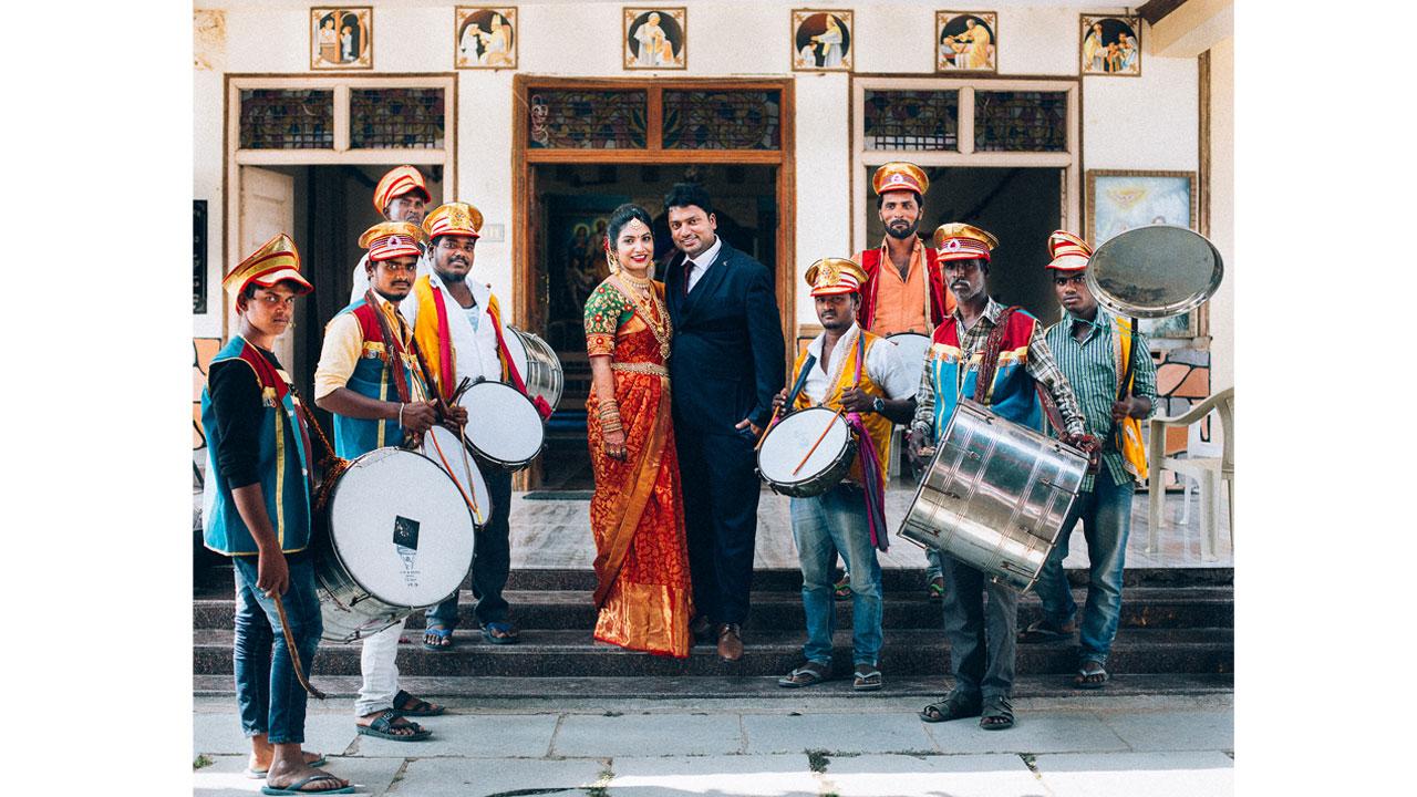 post wedding couple portrait with bandwala